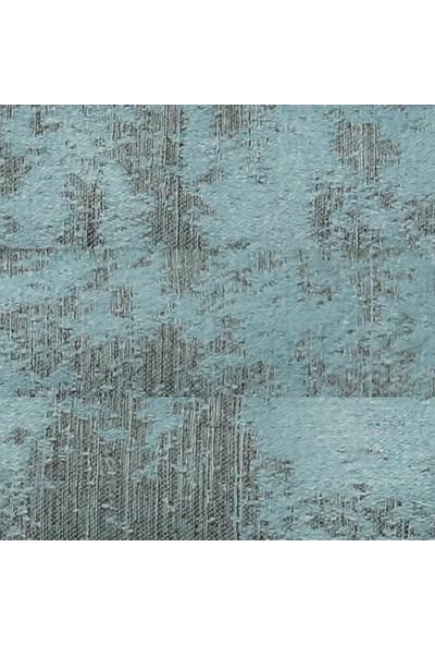 Caserta Home Bulut Desen Turkuaz Orta Sıklıkta Pileli Jakar Tek Kanat Fon Perde - Ezo 12603