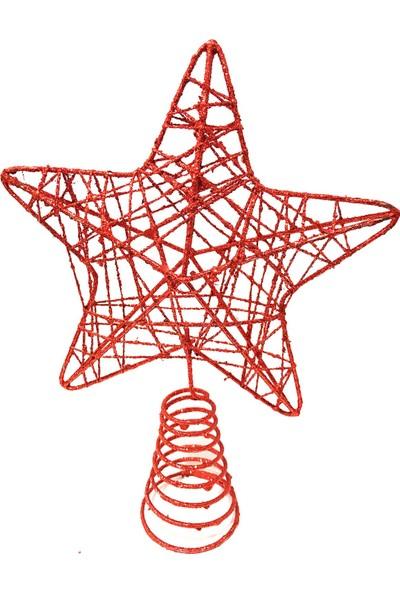 Balonpark 1 Adet Kırmızı Yıldız Şeklinde Simli Yılbaşı Ağacı Tepe Süsü