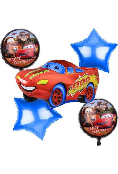 Balonpark 5li Cars Baskılı Folyo Balon Seti Arabalar Konsepti Helyumla Uçan