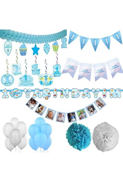 Balonpark Erkek Mavi 1 Yaş Doğum Günü Süs Seti Parti Malzemeleri
