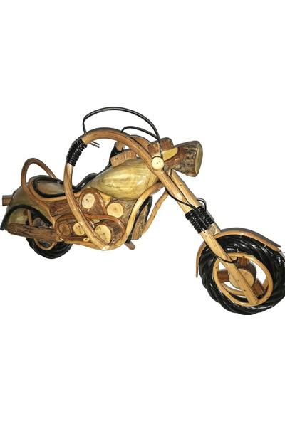 Balonpark Küçük Boy Ahşap Motor Antika Motosiklet Nostaljik Hediyelik Maket