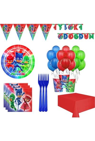 Balonpark Pijamaskeliler 8 Kişilik Pija Maskeliler Doğum Günü Parti Seti
