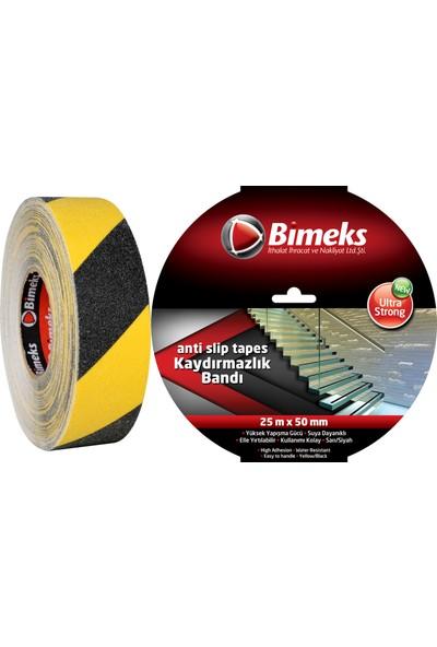 Bimeks Sarı/Siyah Kaydırmazlık Bandı - 25 Mt X 50 Mm