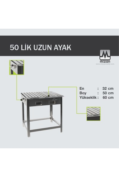 Mizan Krom Çelik Mangal