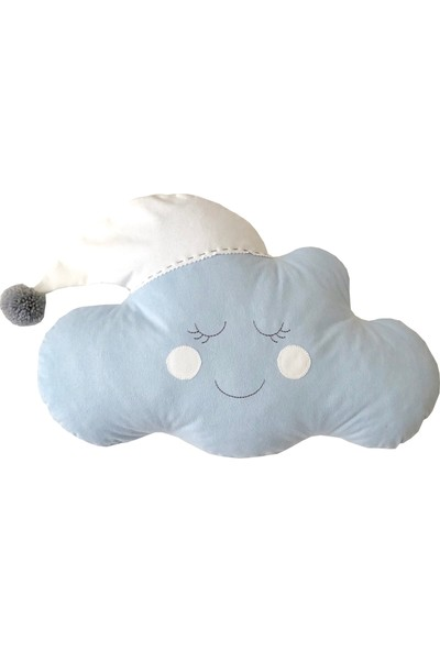 Pudra Decor Şapkalı Mavi Bulut Yastık