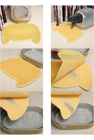 Pets Kedi Şekilli Elekli Kum Toplama Paspası Krem 58x67cm