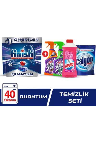 Finish Quantum 40 Tablet Bulaşık Makinesi Deterjanı + Marc Yüzey Temizleyici Floral 900 ml + Calgon Çamaşır Makinesi Kireç Önleyici 500 gr + Cillit Bang Mutfak ve Banyo Sprey Set
