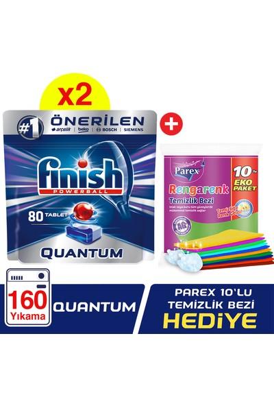 Finish Quantum 160 Tablet Bulaşık Makinası Deterjanı (80x2) + Parex Rengarenk Temizlik Bezi 10'lu