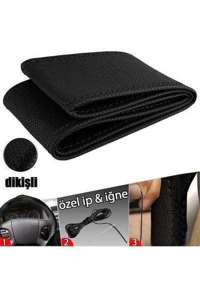 KalitePLUS Fiat Tempra Deri Direksiyon Kılıfı Sarmalı Dikmeli Siyah