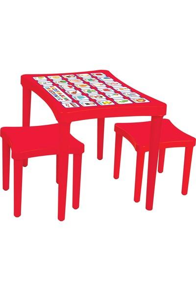 Pilsan Story İki Tabureli Ders Çalışma Masası Kırmızı