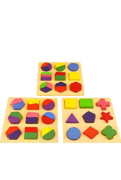 Piramigo Ahşap Bul-Tak Kavram Geometri Şekil Seti D