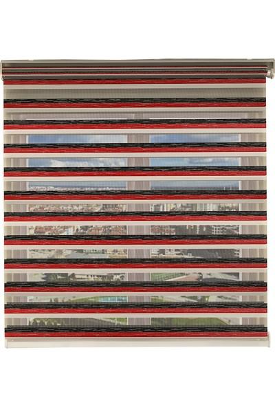 Perdejim Zebra Perde Kırmızı-Siyah-Beyaz Lora 3 Renk