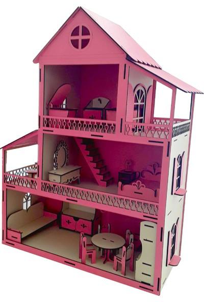 Ahşap Toys Mini Mobilya Setli Ahşap Bebek Evi