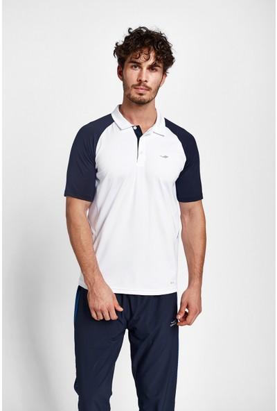 Lescon 19B-1054 Beyaz Koyu Lacivert Erkek Kısa Kollu Polo Yaka T-Shirt