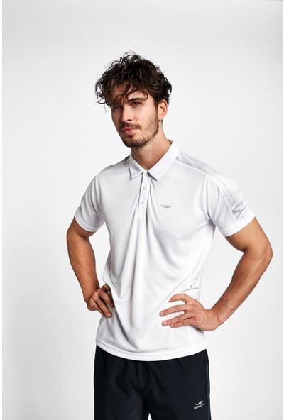 Lescon 19B-1068 Beyaz Antrasit Erkek Kısa Kollu Polo Yaka T-Shirt