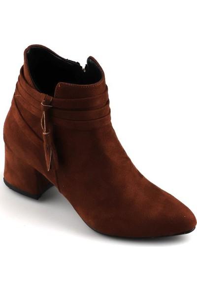 Ayakstore 833 Taba Günlük 5 Cm Topuk Süet Bayan Bot Ayakkabı