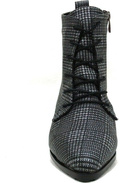 Shoepi 1820 Siyah Gri Ekose Bağcıklı Fermuarlı Bayan Bot