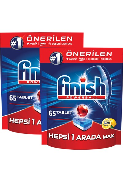 Finish Hepsi Bir Arada 130 Tablet Bulaşık Makinesi Deterjanı Limon (65x2)
