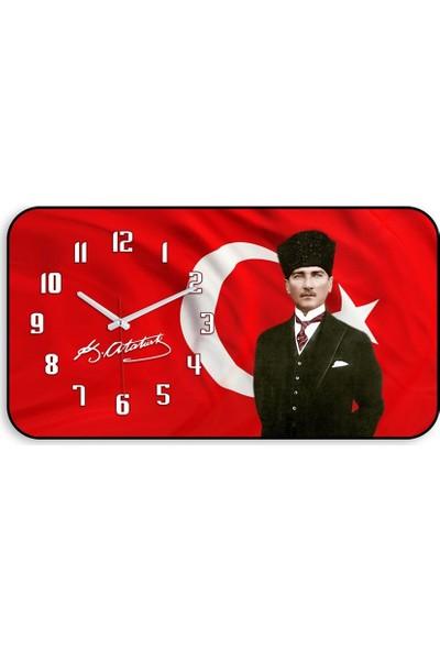My Evilla Atatürk Bombeli Cam Duvar Saati