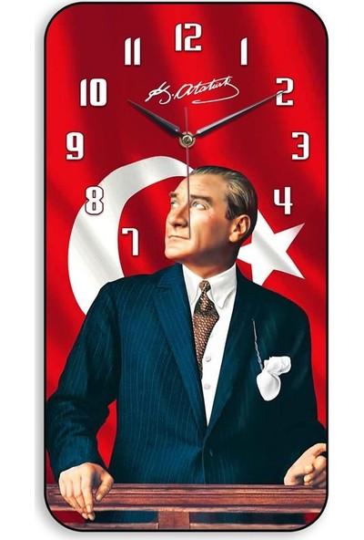 My Evilla Eskitme Atatürk Temalı Bombeli Cam Duvar Saati