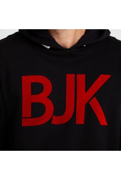 Kartal Yuvası Beşiktaş Flock Bjk Erkek Kapüşonlu Sweatshirt Gri