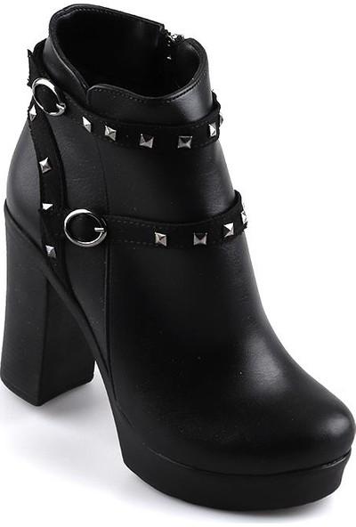Miss Fonzo 253 Siyah Günlük 75 Cm Kadın Cilt Bot Ayakkabı