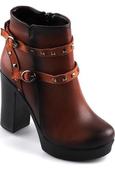 Miss Fonzo 253 Taba Günlük 75 Cm Kadın Cilt Bot Ayakkabı