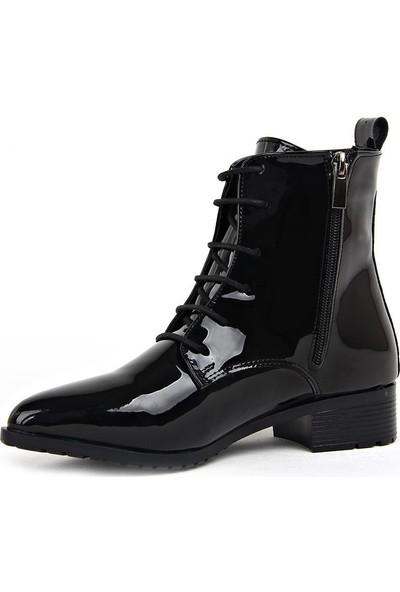 Miss Fonzo 1820 Siyah Günlük Termo Kadın Rugan Bot Ayakkabı