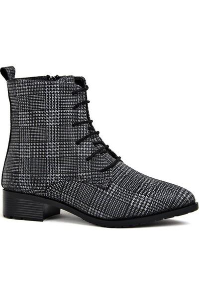 Miss Fonzo 1820 Siyah Günlük Ekose Termo Kadın Bot Ayakkabı