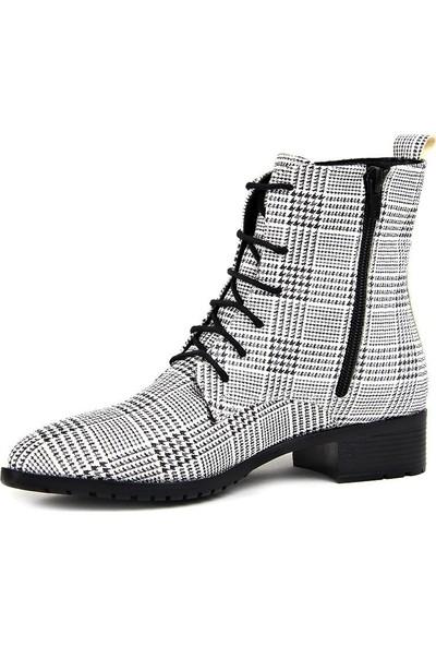 Miss Fonzo 1820 Beyaz Günlük Ekose Termo Kadın Bot Ayakkabı