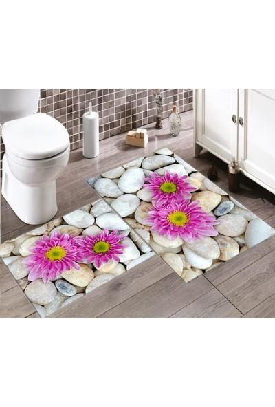 Ewans 3D Çiçek Desenli Banyo Klozet Takımı
