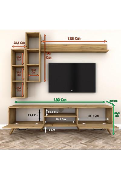 Rani A5 Duvar Raflı Kitaplıklı Tv Ünitesi Duvara Monte Dolaplı Modern Ayaklı Tv Sehpası Ceviz M16