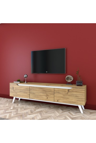 Rani D1 Tv Duvar Ünitesi Modern Ahşap Ayaklı Tv Sehpası Ceviz Beyaz