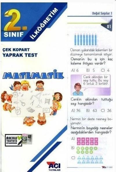 Açı 2. Sınıf Matematik Çek Kopart Yaprak Test