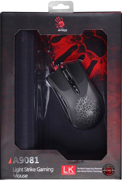 Bloody A9081 4000CPI,Core3 Aktif, LK, Metal Ayak Set (Oyuncu Mouse + Mouse PAD)