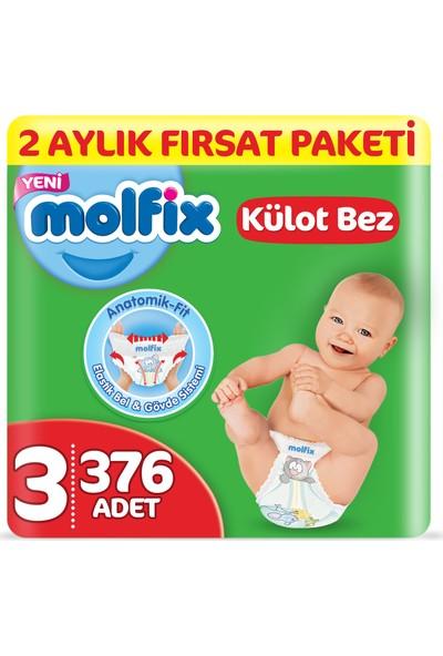 Molfix Külot Bez 3 Beden Midi 2 Aylık Fırsat Paketi 376 adet
