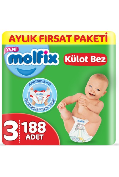 Molfix Külot Bez 3 Beden Midi Aylık Fırsat Paketi 188 adet