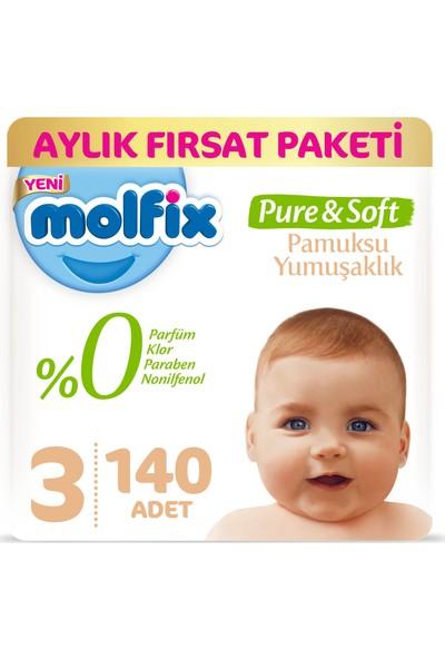Molfix Pure&Soft 3 Beden Midi Aylık Fırsat Paketi 140 Adet