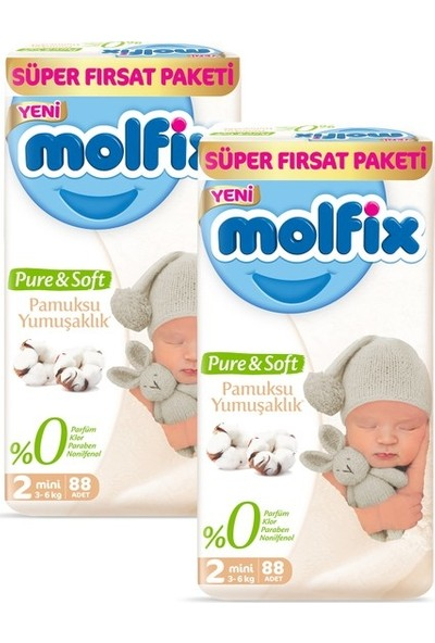 Molfix Pure&Soft 2 Beden Mini Aylık Fırsat Paketi 176 Adet