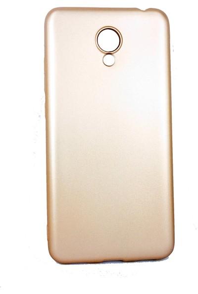 Case 4U Meizu M6T Kılıf Mat Silikon Arka Kapak - Premier- Altın
