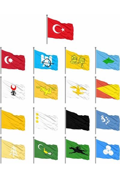 Eski Türk Devletleri 17'li Gönder Bayrağı Seti 100x150cm - Gönder Bayrak Markalı