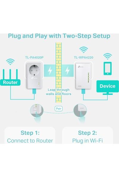 TP-Link TL-WPA4226KIT AV600 300 Mbps Kablosuz 2 LAN Portlu 300 Metre Mesafeli Priz Girişli Powerline