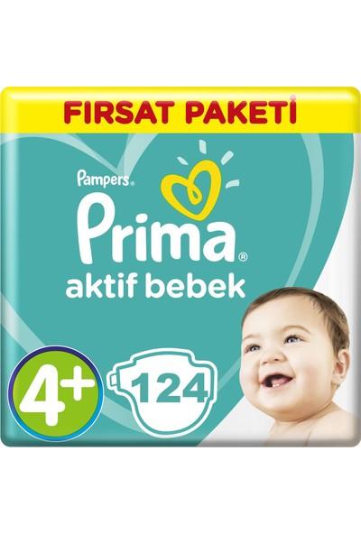 Prima Bebek Bezi Aktif Bebek Aylık Paket 4+ Beden 62X2 Adet