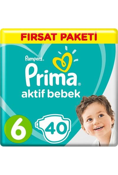 Prima Aktif Bebek Ekstra Large 6 Beden Fırsat Paketi (2X40) 80'Li Bebek Bezi