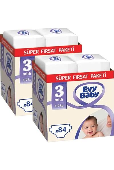 Evy Baby Bebek Bezi 3 Beden Midi Süper Fırsat Paketi 168 Adet