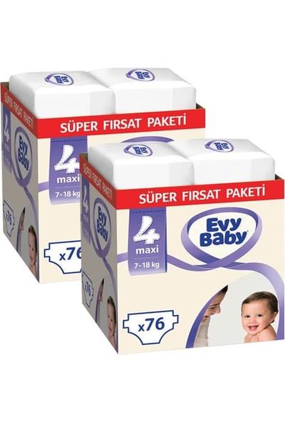 Evy Baby Bebek Bezi 4 Beden Maxi Süper Fırsat Paketi 152 Adet