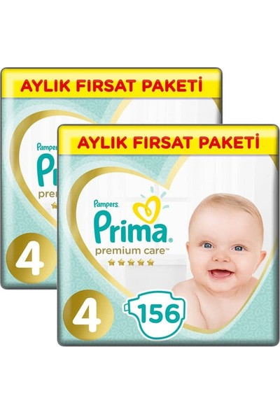 Prima Bebek Bezi Premium Care Aylık Paket Maxi 4 Beden 156 Li X 2 Adet