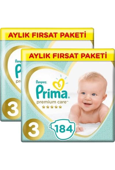 Prima Bebek Bezi Premium Care Aylık Paket Midi 3 Beden 184 Lü X 2 Adet