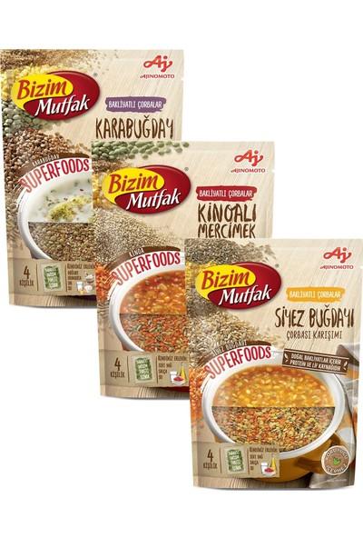 Bizim Mutfak Superfoods Bakliyatlı Çorbalar 3'lü Karma Paket - Siyez Buğdayı & Kinoalı Mercimek & Karabuğday Çorbaları