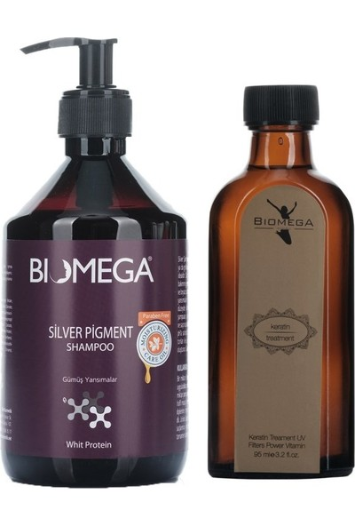 Biomega Silver Şampuan 500 ml + Keratin Yağ 95 ml